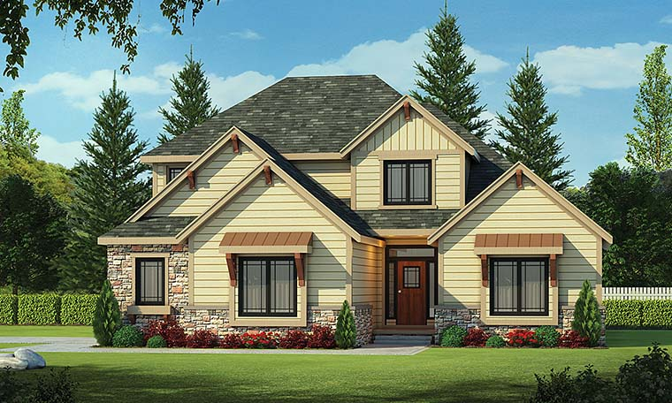 Craftsman House Plan 66598 with 4 Beds, 4 Baths, 2 Car Garage Elevation