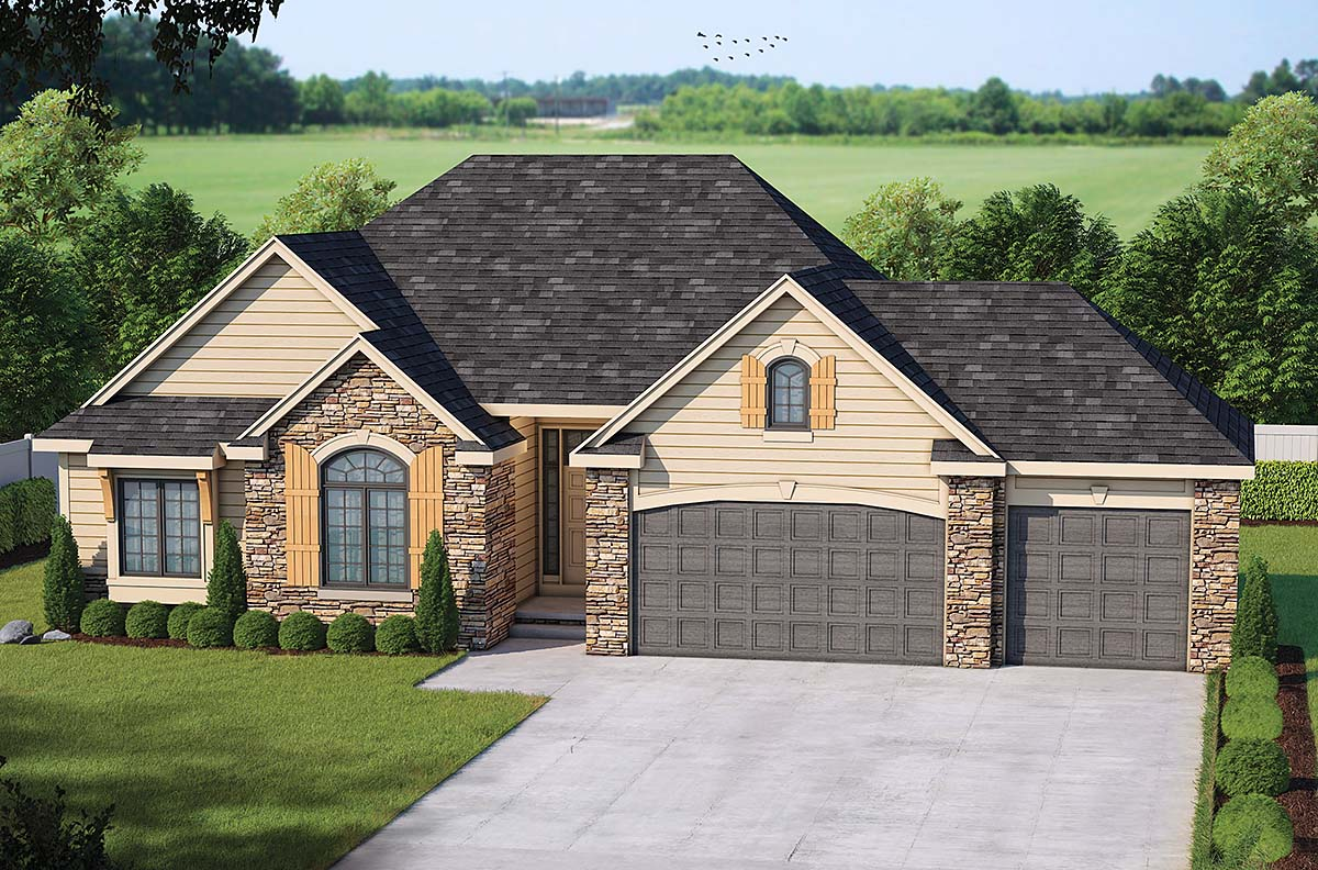 House Plan 66600 | European Style Plan with 1763 Sq Ft, 3 Bedrooms, 3 Bathrooms, 3 Car Garage Elevation