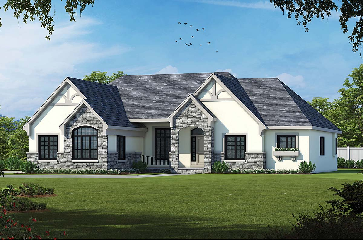 European House Plan 66602 with 2 Beds, 3 Baths, 3 Car Garage Front Elevation