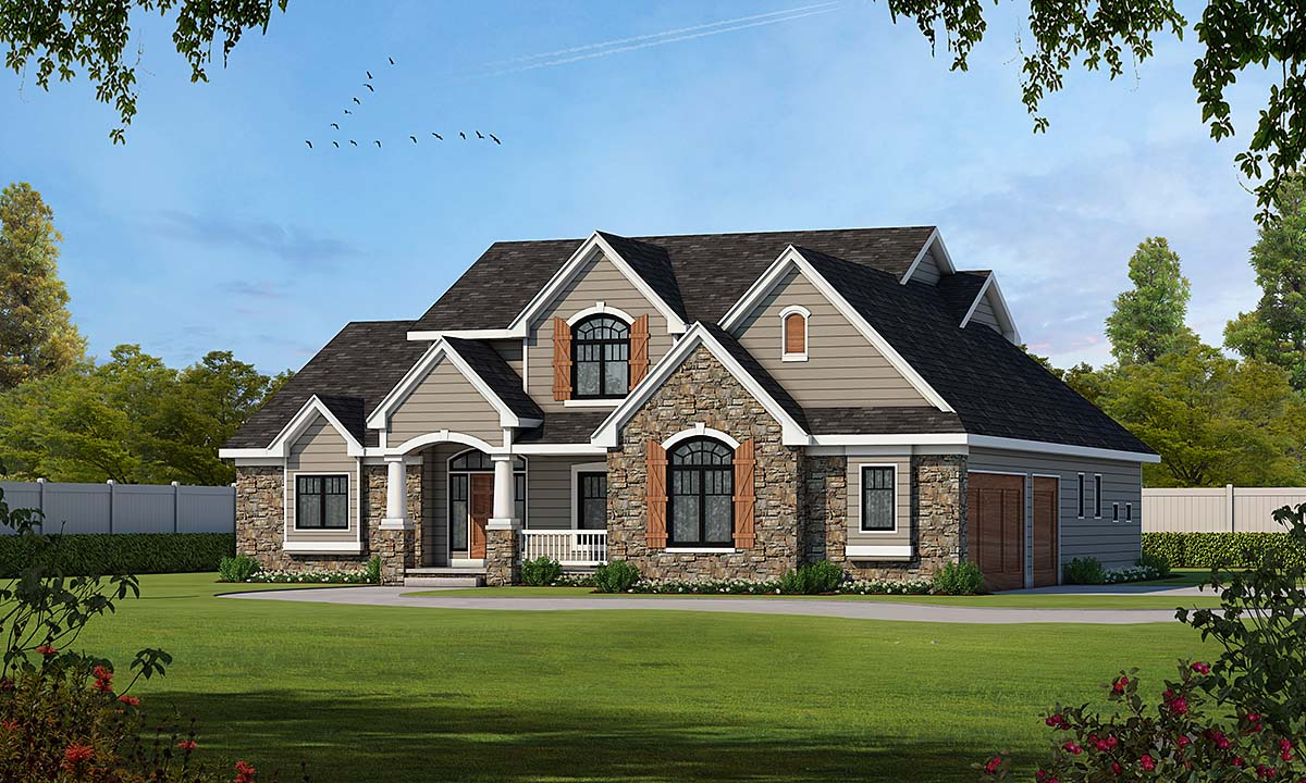 House Plan 66609 | Traditional Style Plan with 3247 Sq Ft, 4 Bedrooms, 4 Bathrooms, 3 Car Garage Elevation