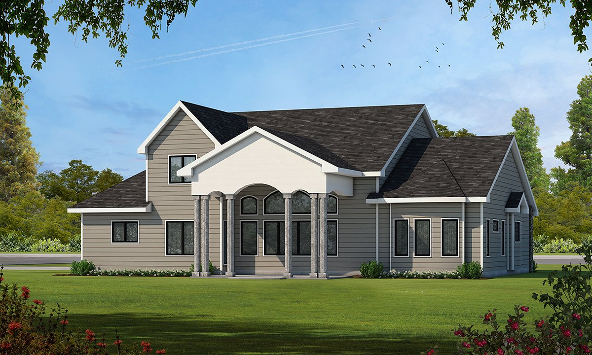 Traditional Rear Elevation of Plan 66609