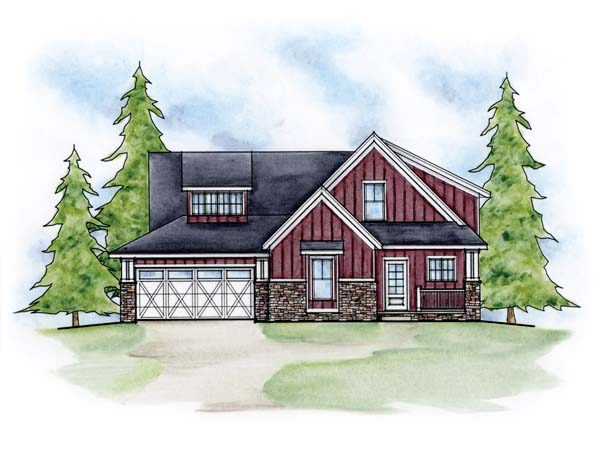 Traditional House Plan 66611 with 2 Beds, 3 Baths, 2 Car Garage Elevation
