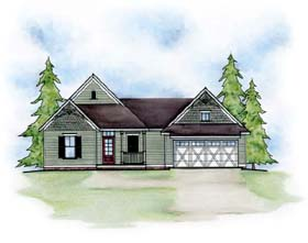 House Plan 66612 | Traditional Style Plan with 1170 Sq Ft, 2 Bedrooms, 3 Bathrooms, 2 Car Garage Elevation