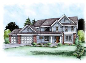 Traditional House Plan 66616 with 4 Beds, 3 Baths, 3 Car Garage Elevation