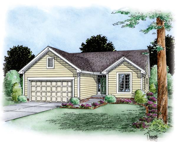 Traditional House Plan 66620 with 2 Beds, 2 Baths, 2 Car Garage Elevation