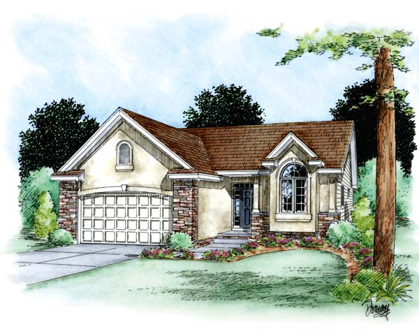 European House Plan 66621 with 2 Beds, 2 Baths, 2 Car Garage Elevation