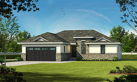 Country , European House Plan 66624 with 2 Beds, 2 Baths, 2 Car Garage Elevation