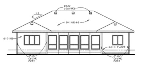 Country , European House Plan 66624 with 2 Beds, 2 Baths, 2 Car Garage Rear Elevation
