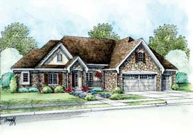 Country , European House Plan 66627 with 3 Beds, 2 Baths, 3 Car Garage Elevation