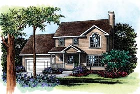 House Plan 66634 | Traditional Style Plan with 1339 Sq Ft, 3 Bedrooms, 3 Bathrooms, 2 Car Garage Elevation