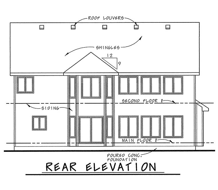 Traditional House Plan 66636 Rear Elevation