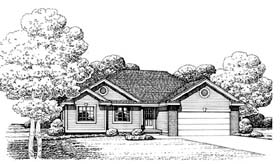 House Plan 66637 | Traditional Style Plan with 1466 Sq Ft, 3 Bedrooms, 2 Bathrooms, 2 Car Garage Elevation
