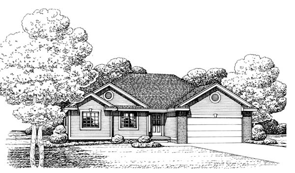 Traditional House Plan 66637 with 3 Beds, 2 Baths, 2 Car Garage Elevation