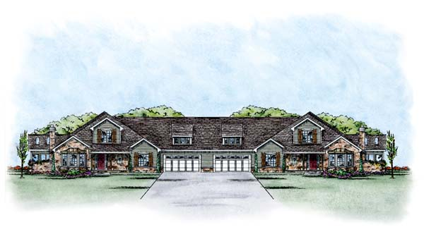 European Multi-Family Plan 66641 with 8 Beds, 12 Baths, 4 Car Garage Elevation