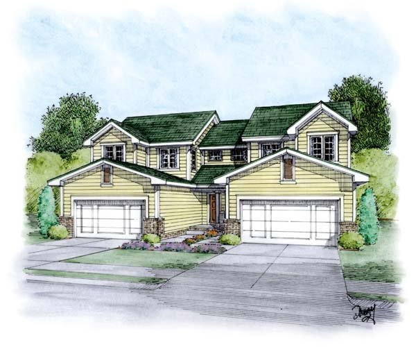 Traditional Multi-Family Plan 66647 with 6 Beds, 6 Baths, 4 Car Garage Elevation