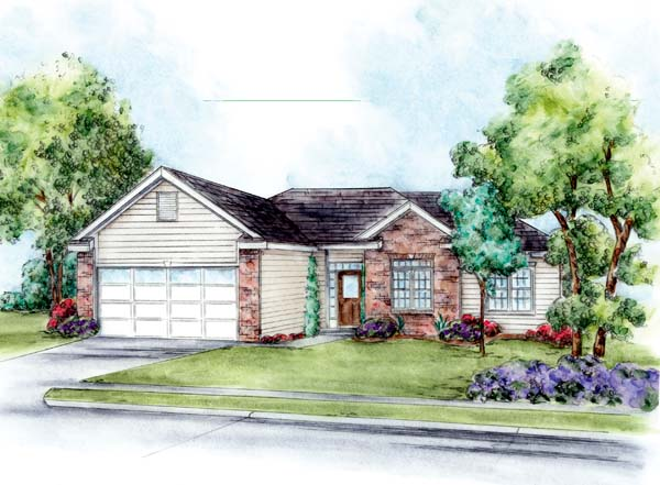 House Plan 66650 | Traditional Style Plan with 1291 Sq Ft, 3 Bedrooms, 2 Bathrooms, 2 Car Garage Elevation