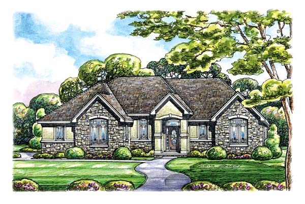 Traditional House Plan 66658 with 3 Beds , 2 Baths , 2 Car Garage Elevation