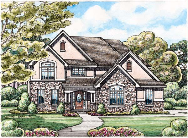 Traditional House Plan 66659 with 4 Beds, 3 Baths, 2 Car Garage Elevation