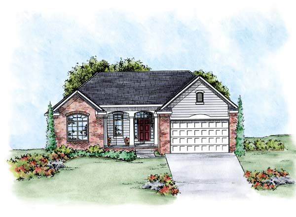 Traditional House Plan 66669 with 2 Beds, 2 Baths, 2 Car Garage Elevation