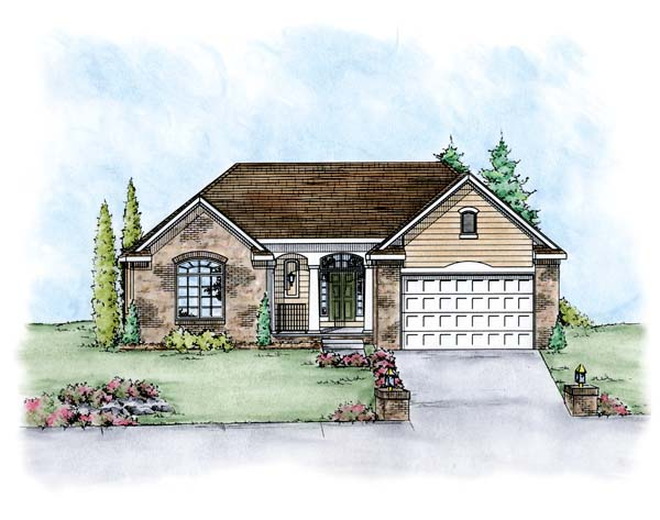Traditional House Plan 66674 with 2 Beds, 2 Baths, 2 Car Garage Elevation