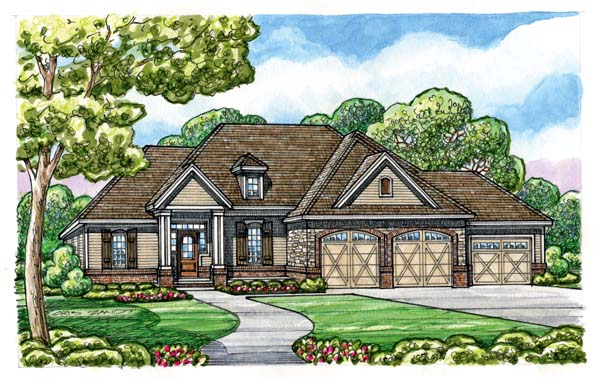 Craftsman Elevation of Plan 66683