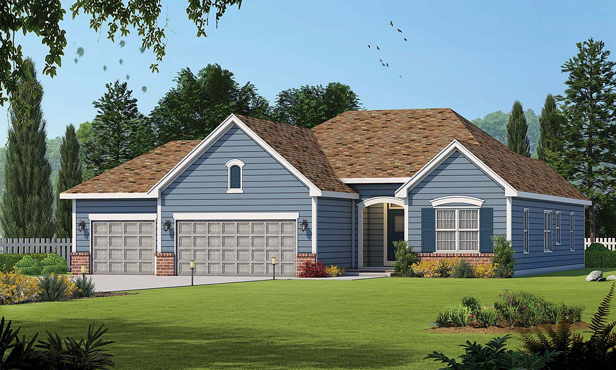 Traditional House Plan 66686 with 3 Beds, 2 Baths, 3 Car Garage Elevation