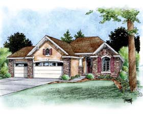 House Plan 66687 | European Style Plan with 1755 Sq Ft, 3 Bedrooms, 2 Bathrooms, 3 Car Garage Elevation