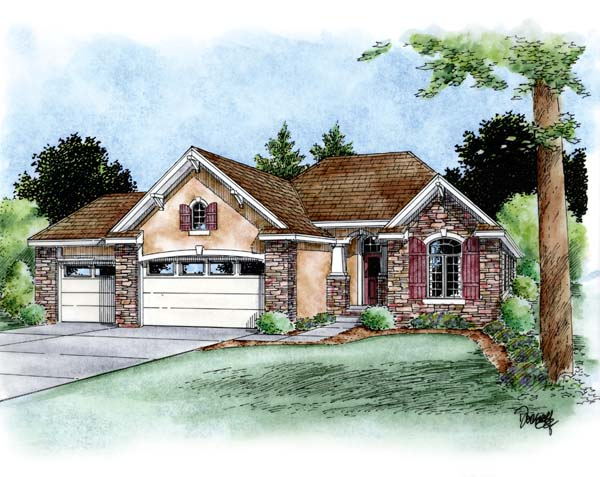 European House Plan 66687 with 3 Beds, 2 Baths, 3 Car Garage Elevation