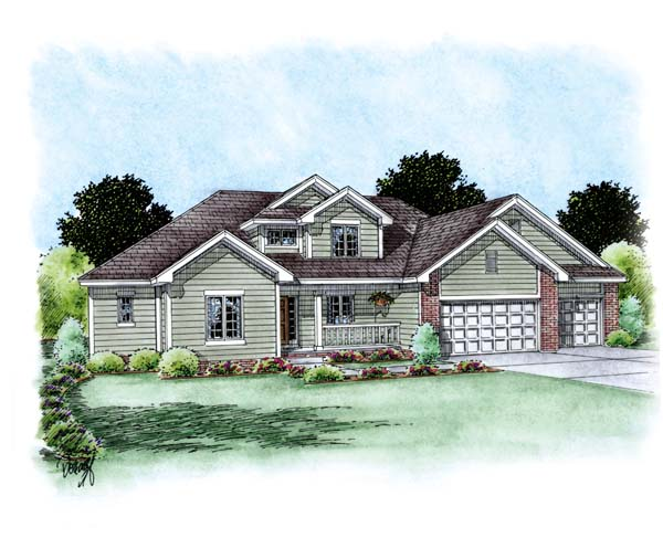 Traditional House Plan 66688 with 4 Beds, 3 Baths, 3 Car Garage Elevation