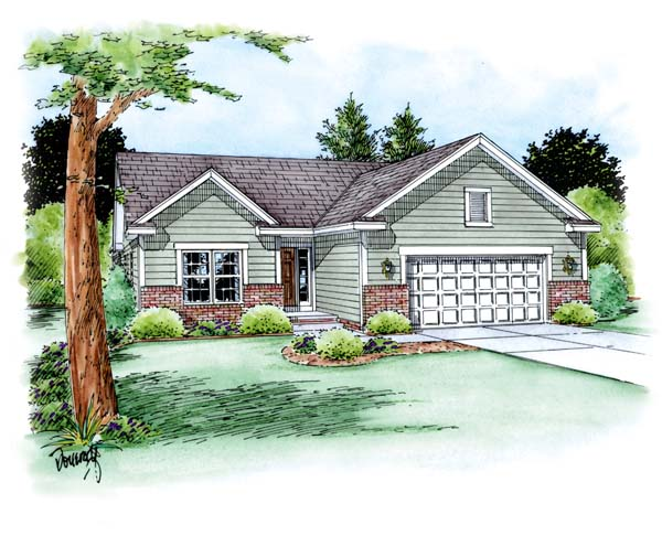 Traditional House Plan 66703 with 3 Beds, 2 Baths, 2 Car Garage Elevation