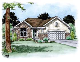 Traditional House Plan 66704 with 3 Beds, 2 Baths, 2 Car Garage Elevation