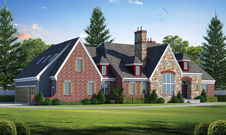 European , Tudor House Plan 66726 with 3 Beds, 3 Baths, 3 Car Garage Elevation