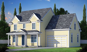 House Plan 66732 | Colonial Farmhouse Southern Style Plan with 2050 Sq Ft, 3 Bedrooms, 3 Bathrooms, 2 Car Garage Elevation