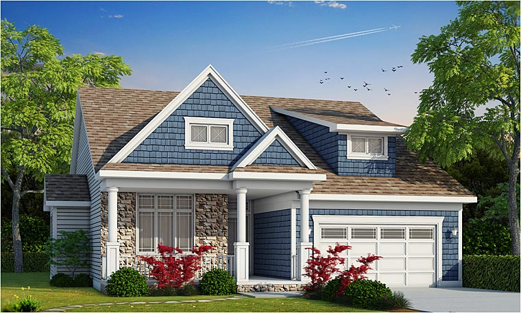 Cottage , Country , Craftsman House Plan 66733 with 3 Beds, 2 Baths, 2 Car Garage Elevation