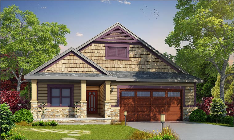 Cottage, Country, Craftsman House Plan 66734 with 2 Beds , 3 Baths , 2 Car Garage Elevation