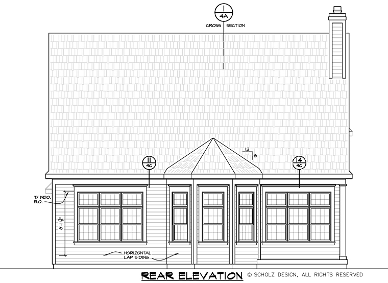 Country Craftsman Traditional Rear Elevation of Plan 66739