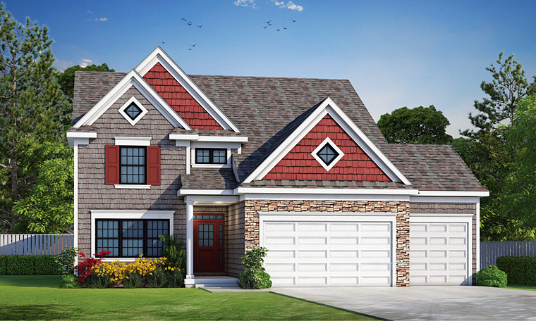 Craftsman, Traditional House Plan 66742 with 3 Beds, 5 Baths, 3 Car Garage Elevation