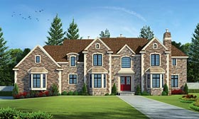 European , Traditional House Plan 66743 with 5 Beds, 5 Baths, 3 Car Garage Elevation