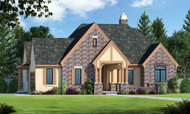 European Traditional Tudor House Plan 66745 Elevation