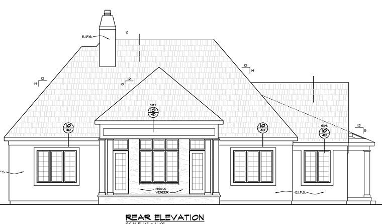 European Traditional Tudor House Plan 66745 Rear Elevation