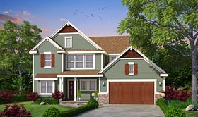 Country Craftsman Traditional House Plan 66746 Elevation