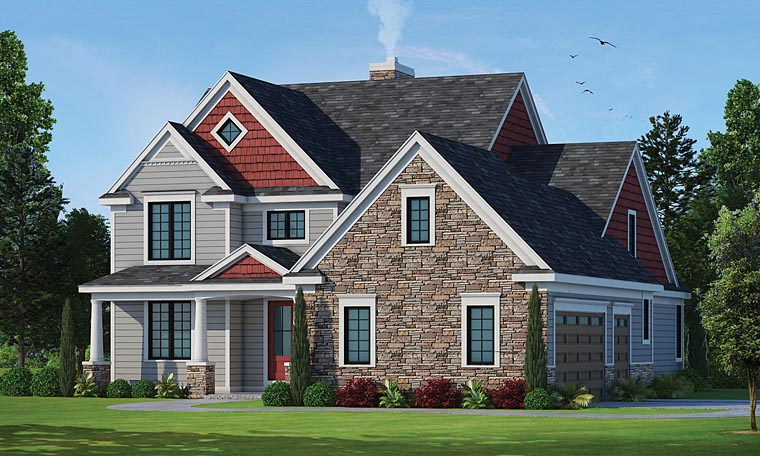 Country, Craftsman, Traditional, House Plan 66750 with 4 Beds, 3 Baths, 2 Car Garage Elevation