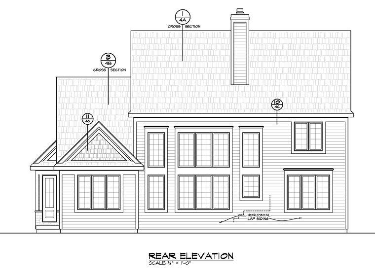 Country Craftsman Traditional House Plan 66750 Rear Elevation