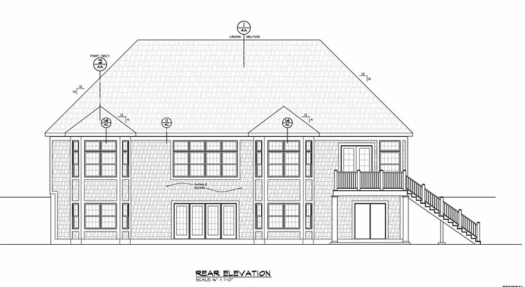 Cottage Country Craftsman House Plan 66751 Rear Elevation