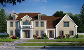 Colonial , Southern House Plan 66752 with 5 Beds, 6 Baths Elevation