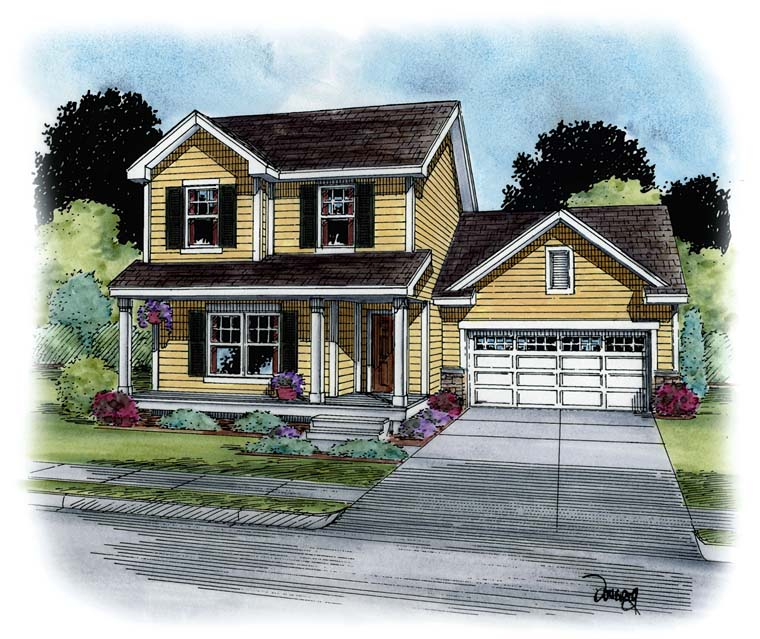 Country, Southern, Traditional House Plan 66767 with 3 Beds, 3 Baths, 2 Car Garage Elevation