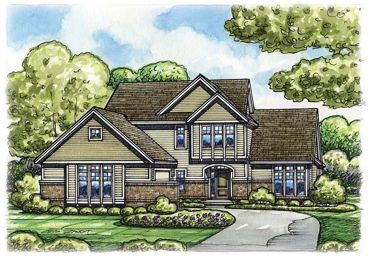 Contemporary Traditional House Plan 66768 Elevation