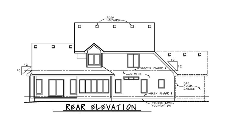 Contemporary Traditional House Plan 66768 Rear Elevation