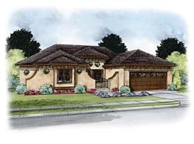 Italian , Southwest , Tuscan House Plan 66770 with 1 Beds, 3 Baths, 2 Car Garage Elevation