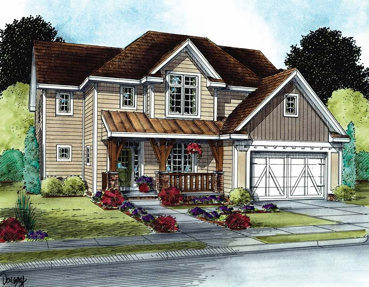 Country Craftsman Southern Elevation of Plan 66773